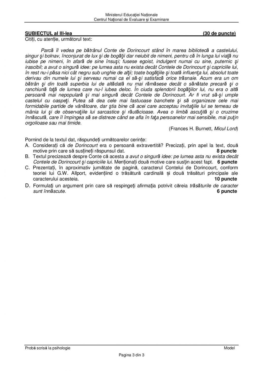 BACALAUREAT 2019. Modele de subiecte la Psihologie ...